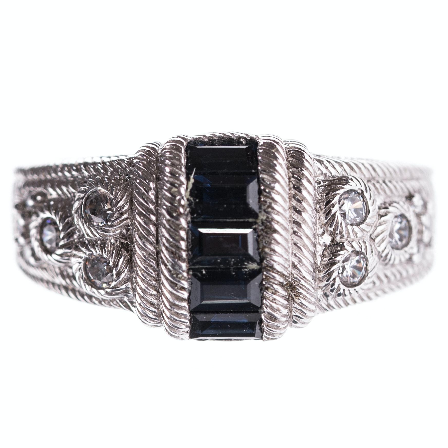 Sterling Silver Judith Ripka Sapphire Ring