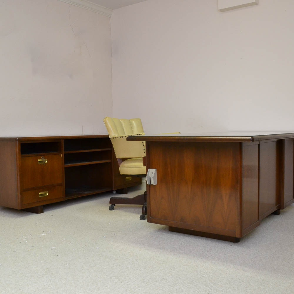 Mid Century Modern Desk by Leopold with Credenza and Chair