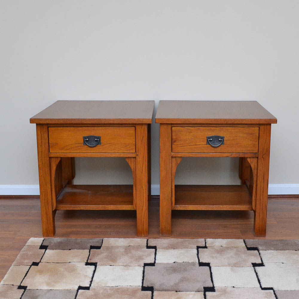 Thomasville Impressions Mission Style Oak End Tables EBTH
