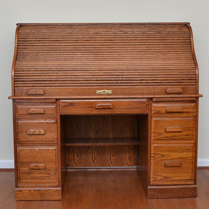 Oak Roll Top Desk By Winners Only Ebth