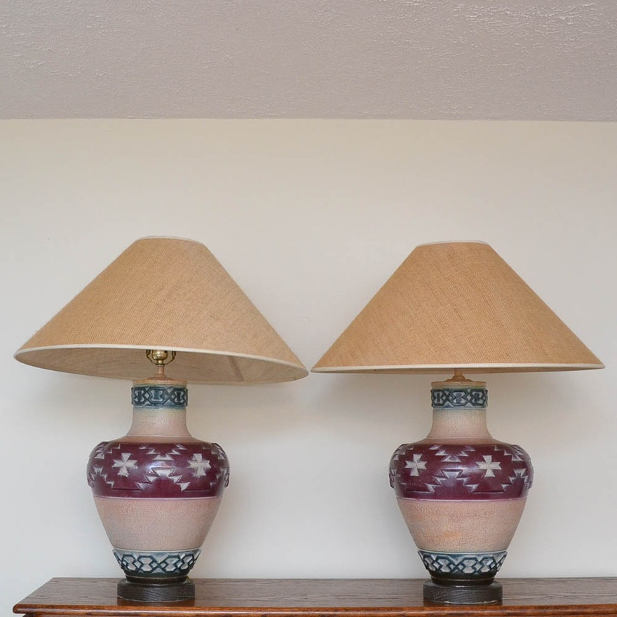 Southwestern style urn table lamps ebth southwestern style urn table lamps aloadofball Image collections