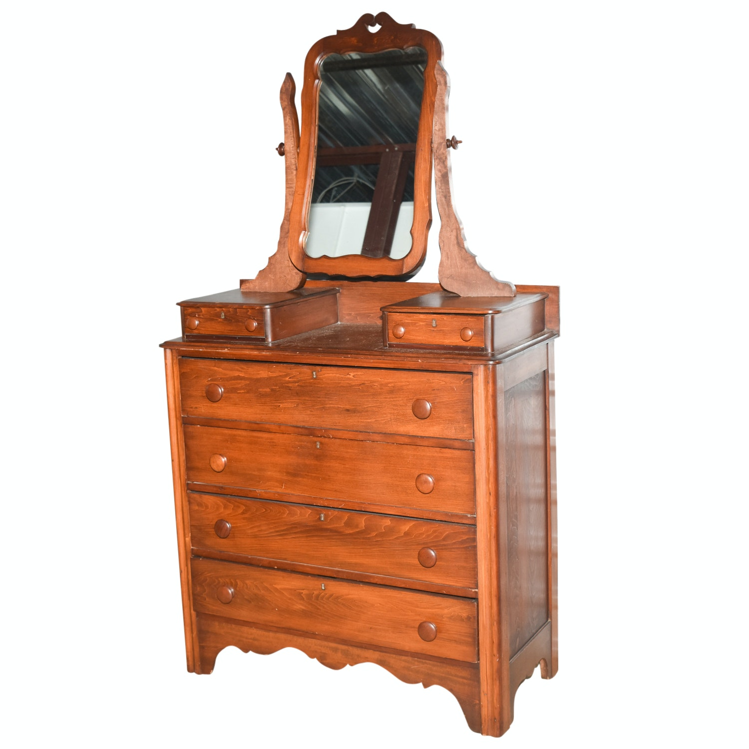Antique Early Victorian Pine Chest of Drawers with Mirror