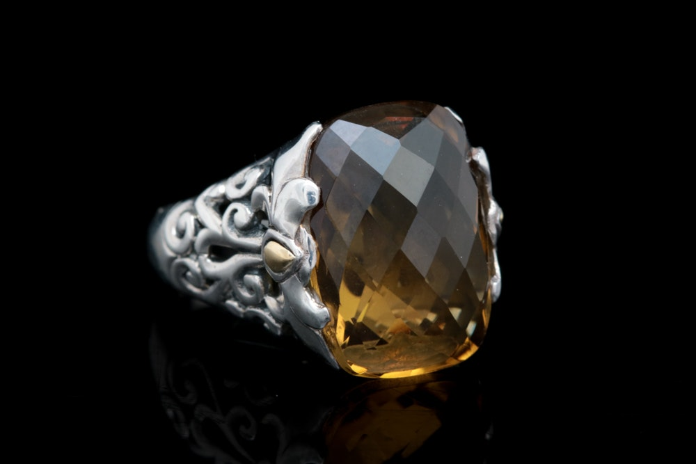 Robert Manse Sterling Silver, 18K Yellow Gold and Smoky Quartz Ring