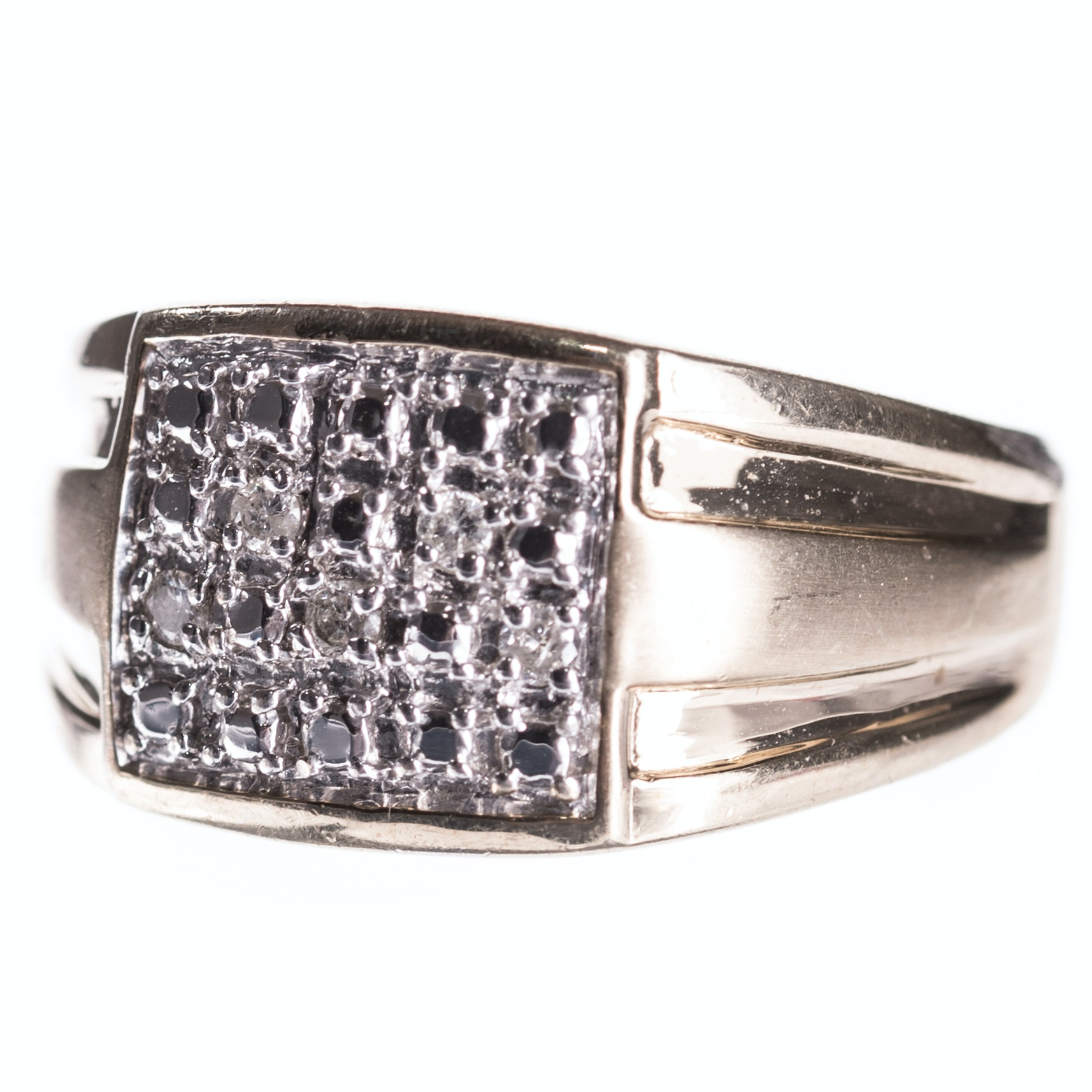 Sterling Silver Diamond Ring with Gold Wash