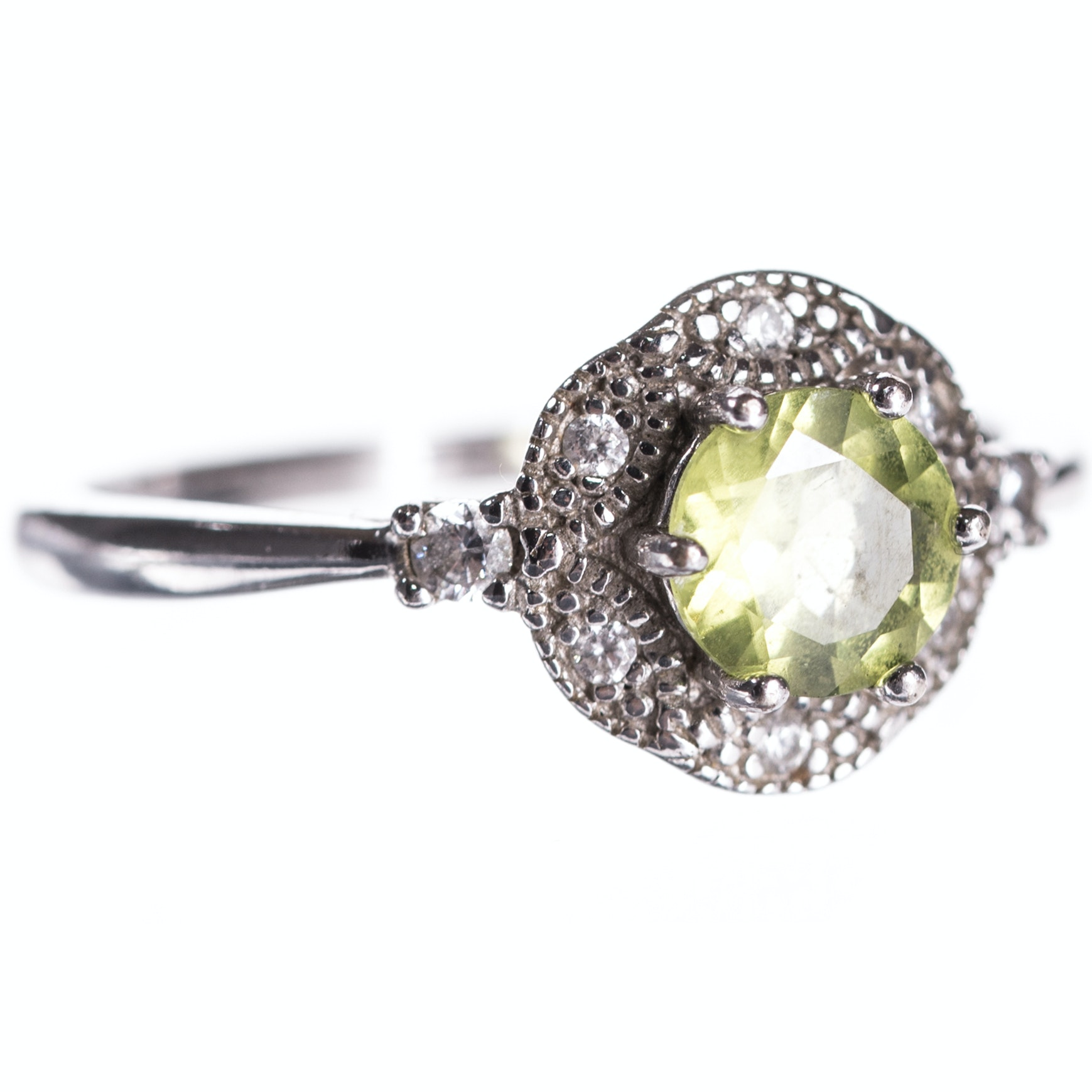 Sterling Silver Peridot and Cubic Zirconia Ring