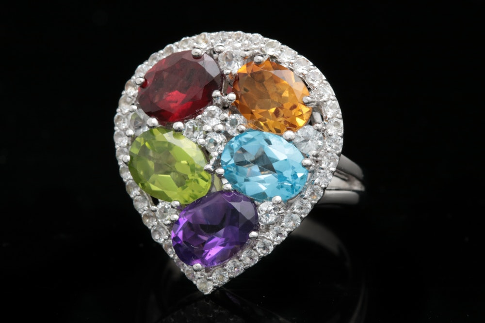 Robert Manse Sterling Silver and Multi-Gemstone Ring