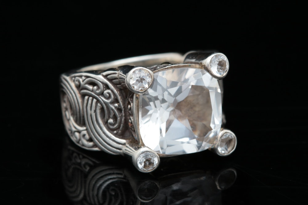 Robert Manse Sterling Silver, 18K Yellow Gold and White Topaz Ring