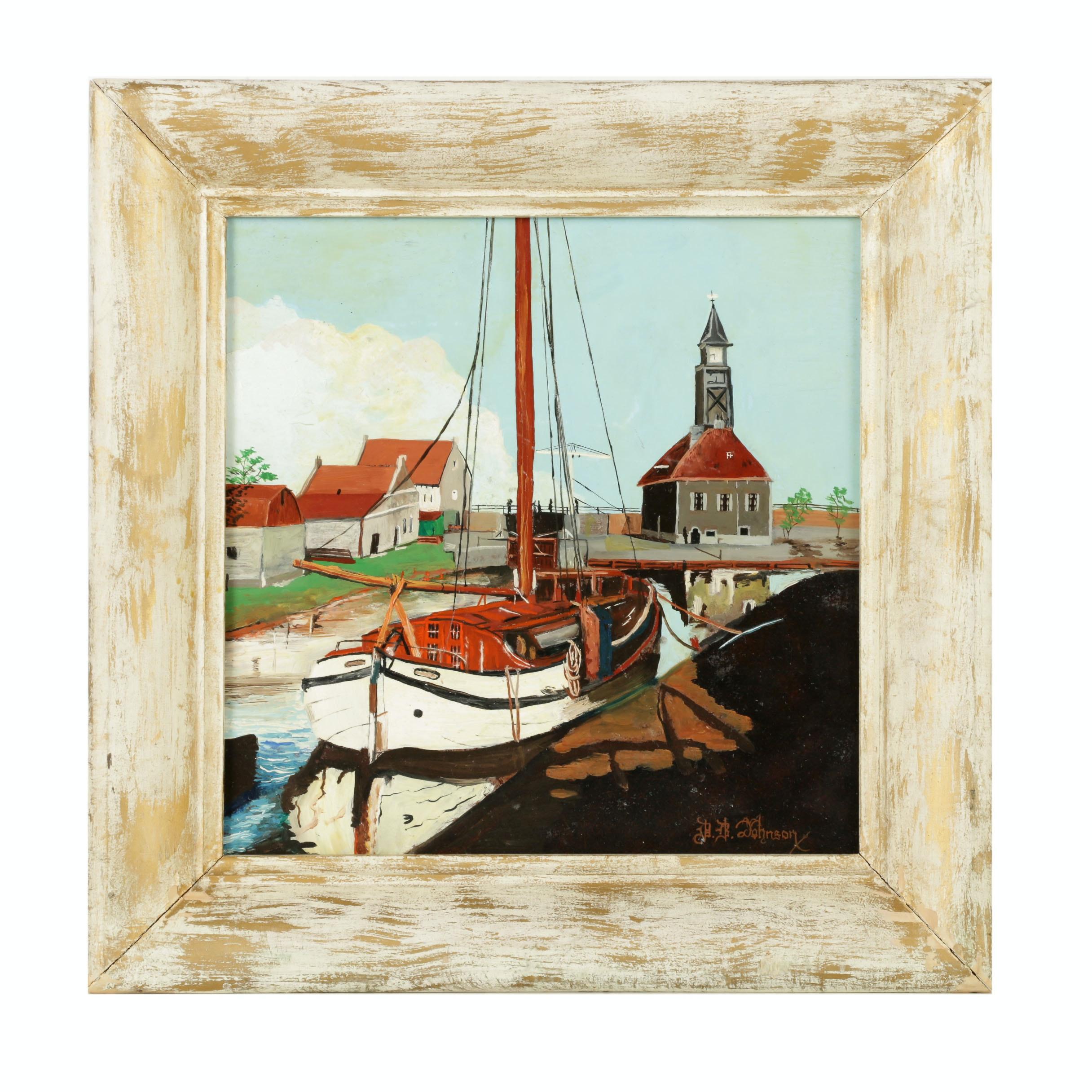 David Johnson Oil Painting of Harbor Scene
