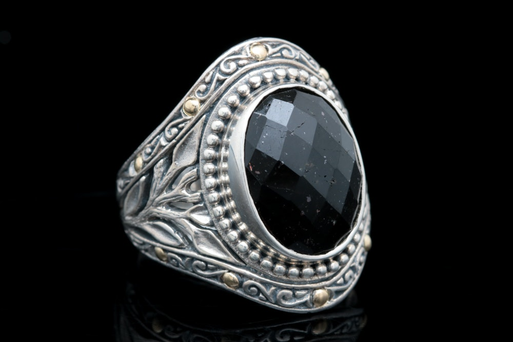 Robert Manse Sterling Silver, 18K Yellow Gold and Black Tourmaline Ring
