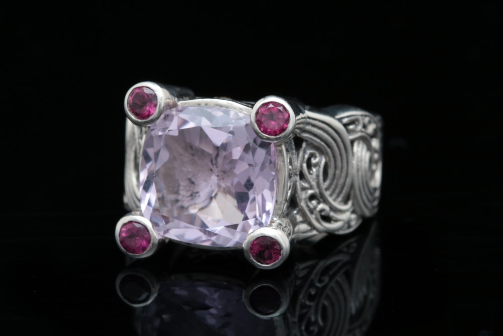 Robert Manse Sterling Silver, 18K Yellow Gold, Amethyst and Rhodolite Ring
