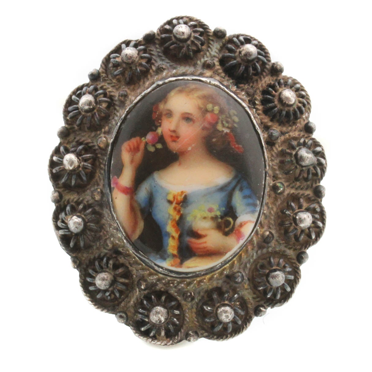Antique Sterling Silver Hand Painted Porcelain Brooch
