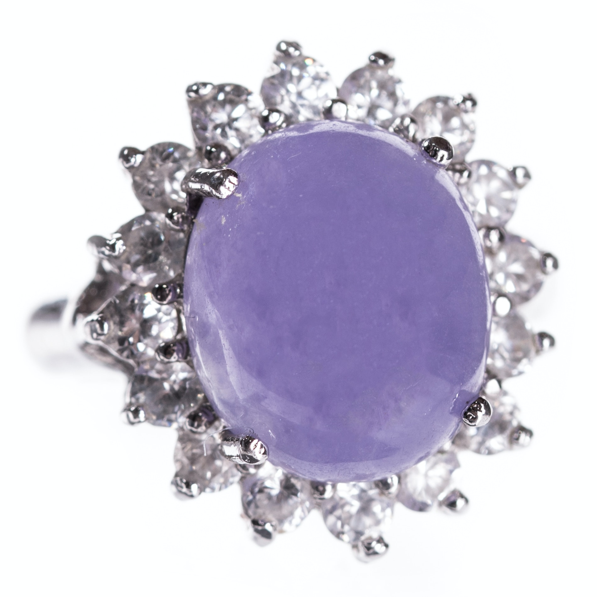 Sterling Silver Purple Jadeite and Cubic Zirconia Ring