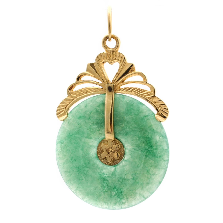 14K Yellow Gold and Imitation Jade Pendant