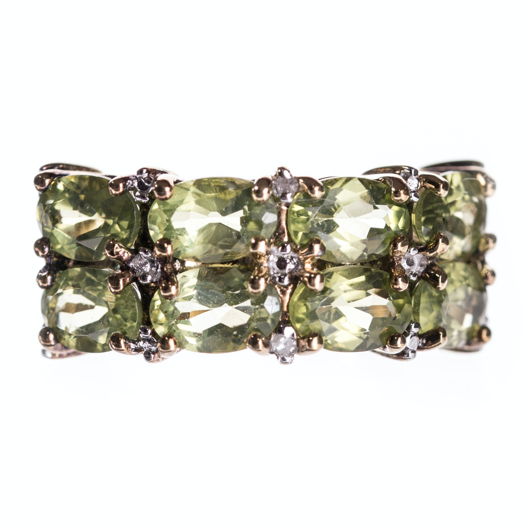 Sterling Silver Peridot Ring with Gold Wash