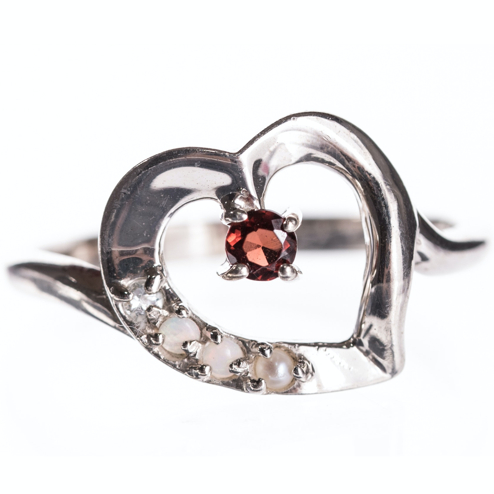 Sterling Silver Garnet Opal and Pearl Heart Ring