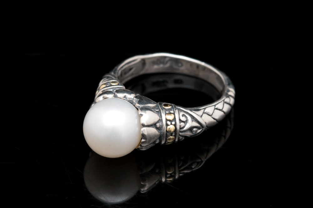 Robert Manse Sterling Silver, 18K Yellow Gold and Pearl Ring
