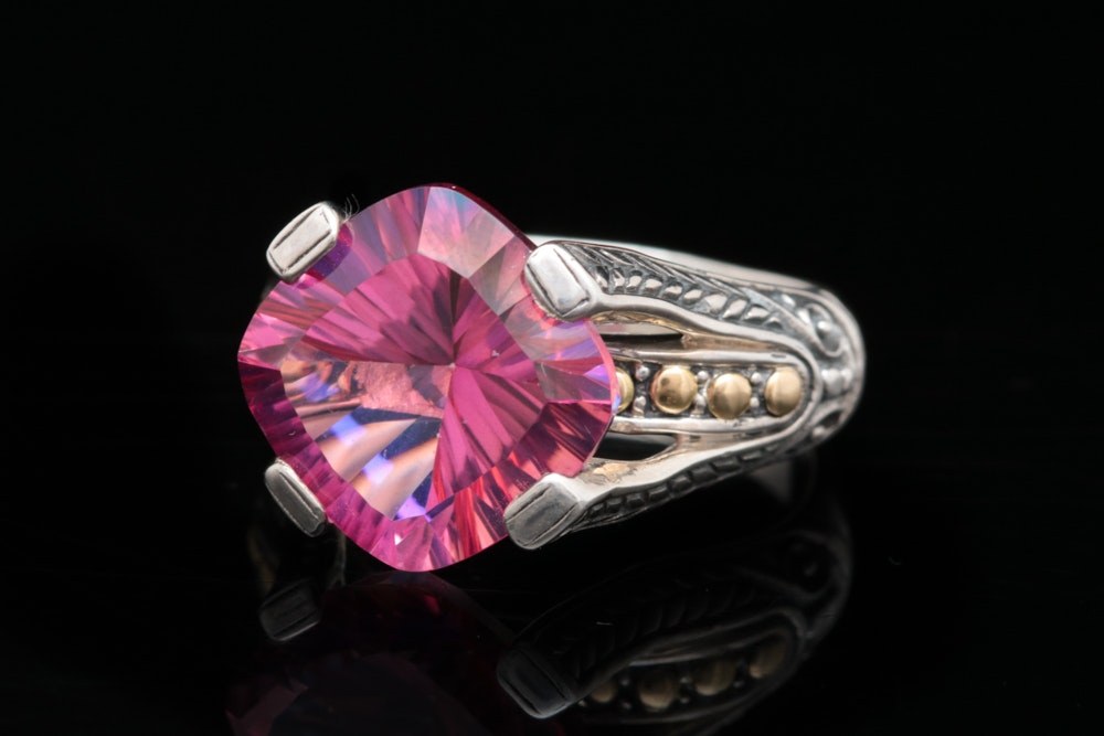 Robert Manse Sterling Silver, 18K Yellow Gold and Pink Quartz Ring