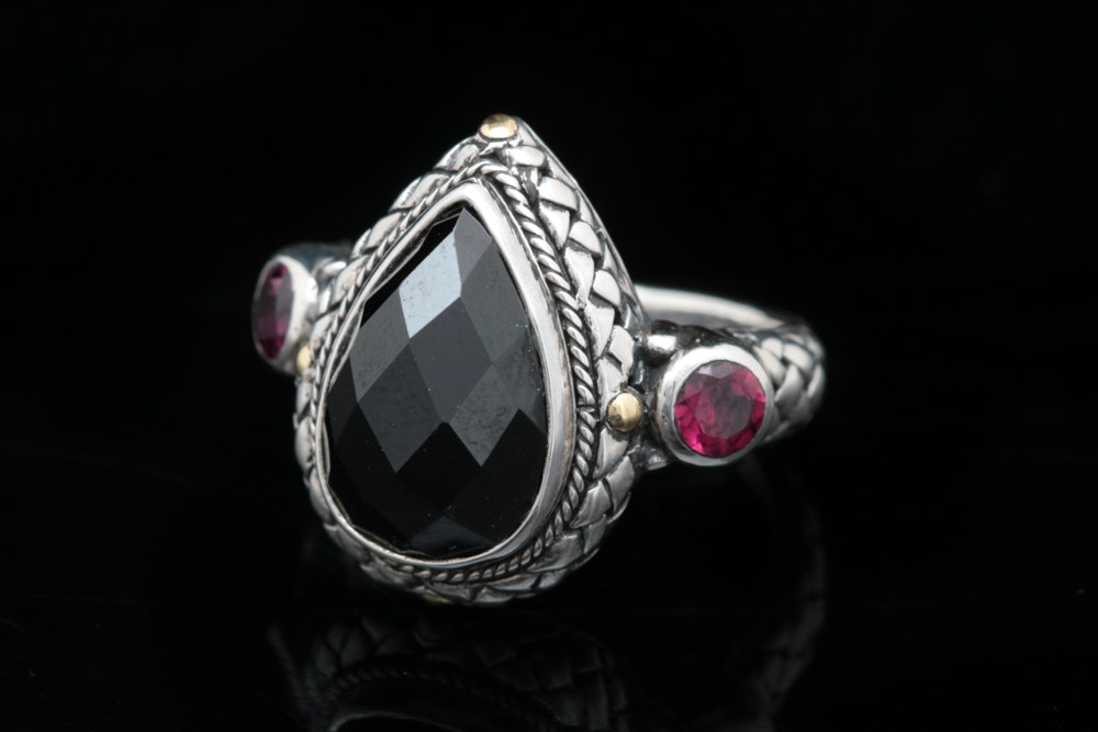 Robert Manse Sterling Silver, 18K Yellow Gold, Black Spinel and Rhodolite Ring