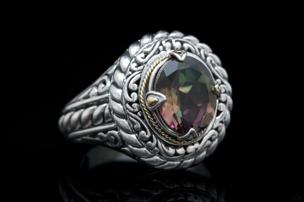 Robert Manse Sterling Silver, 18K Yellow Gold and Rainbow Coated Quartz Ring