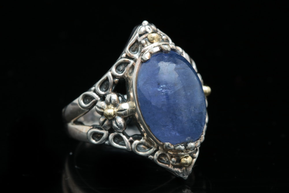 Robert Manse Sterling Silver, 18K Yellow Gold and Tanzanite Ring