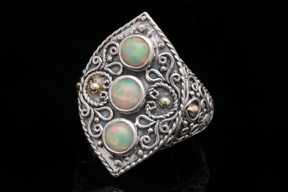 Robert Manse Sterling Silver, 18K Yellow Gold and Opal Ring