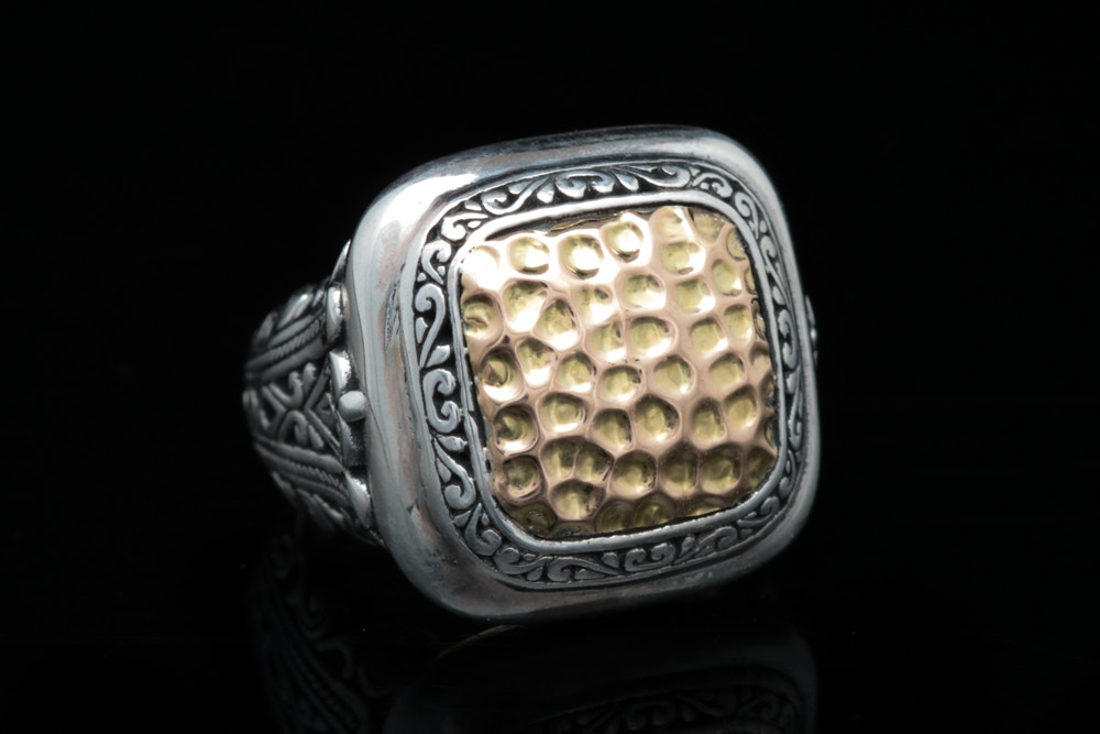 Robert Manse Sterling Silver and 18K Yellow Gold Ring