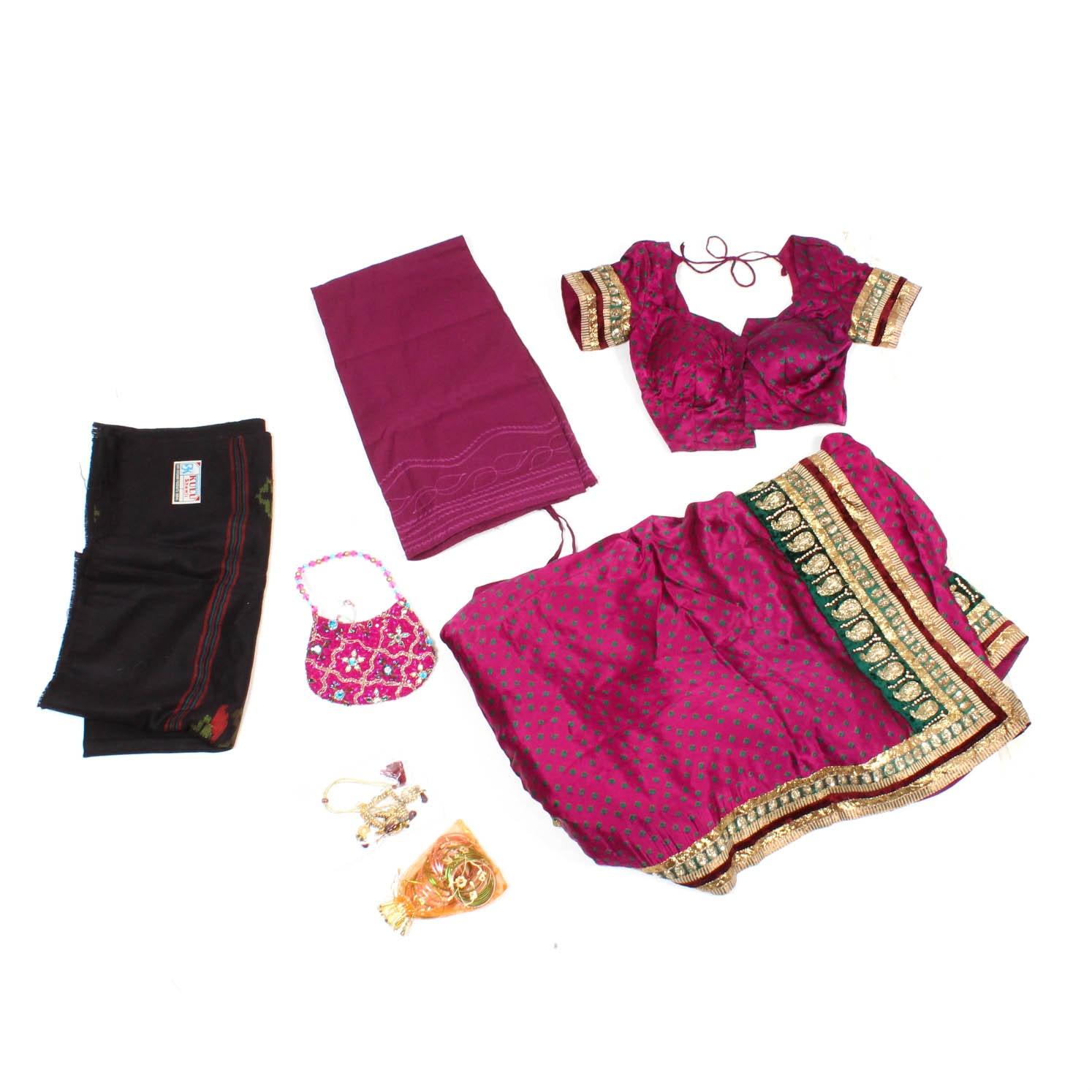 Indian Silk Saree and Wool Shawl