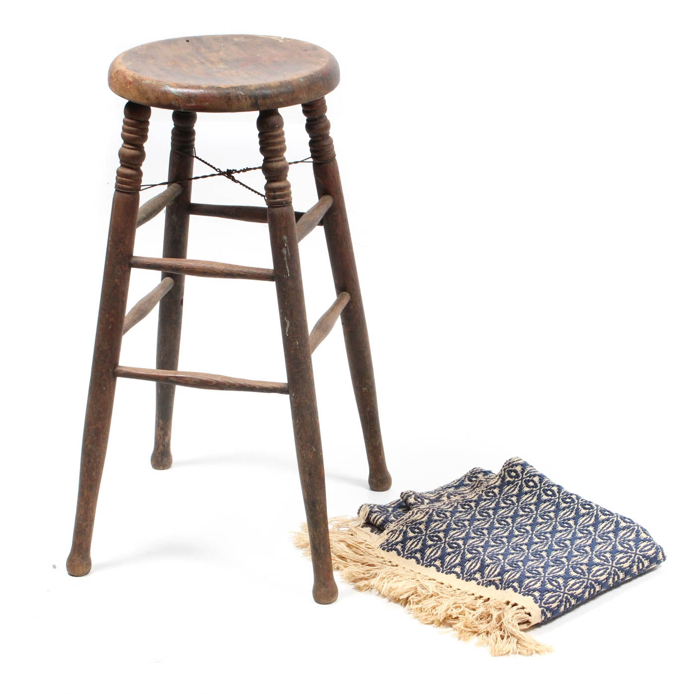 Vintage Stool and Hand Woven Shawl