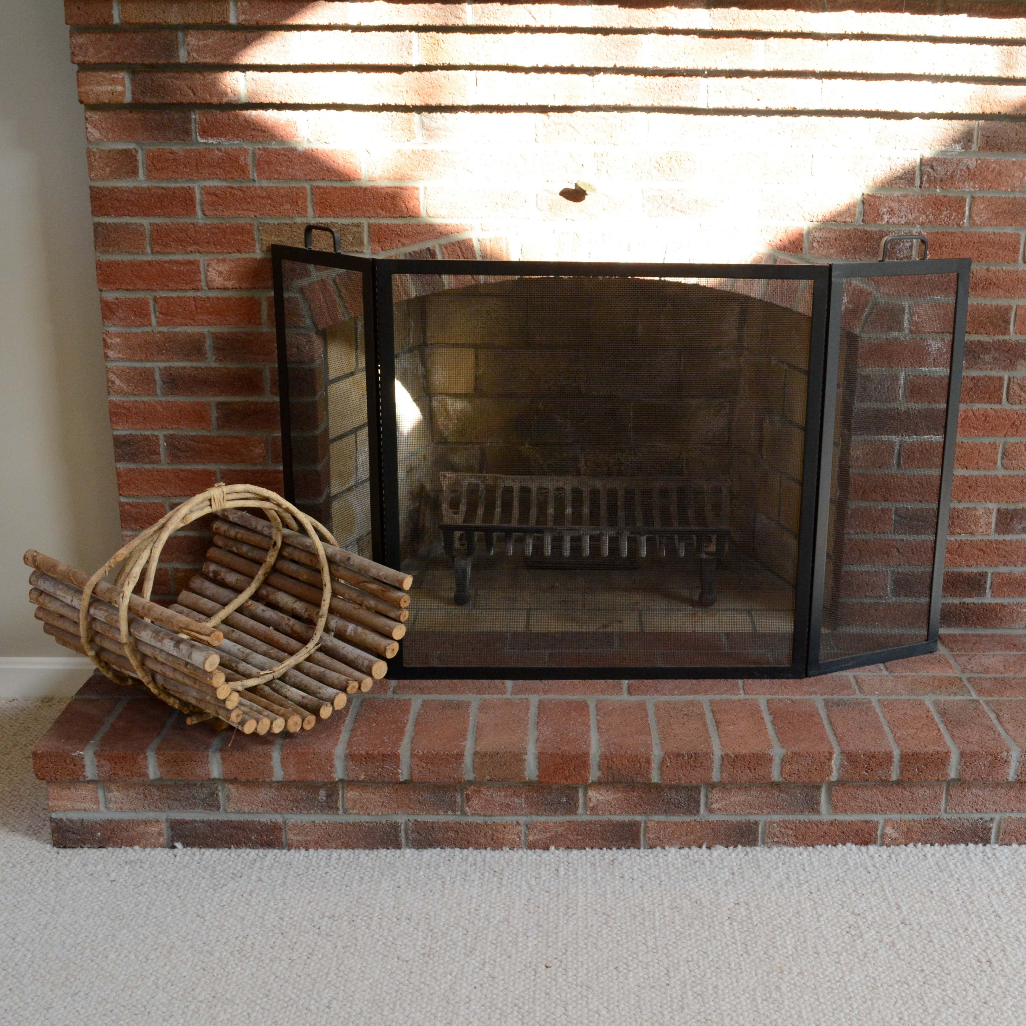 Fireplace Screen and Wooden Log Holder