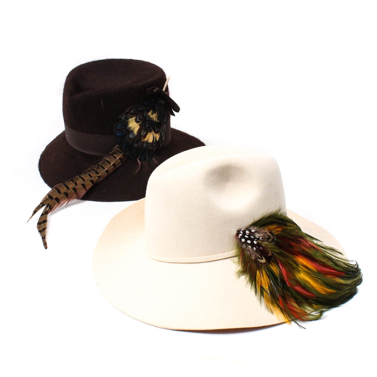 Pair of Felt Hats with Feather Accents