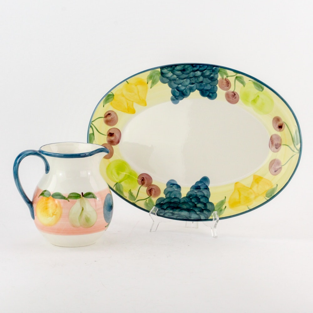 A. Santos Hand Painted Portuguese Pitcher and Platter