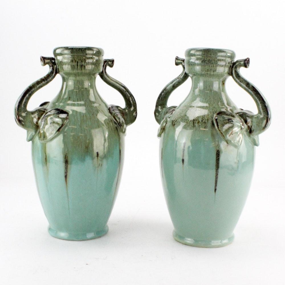 Stoneware Vases with Elephant Handles