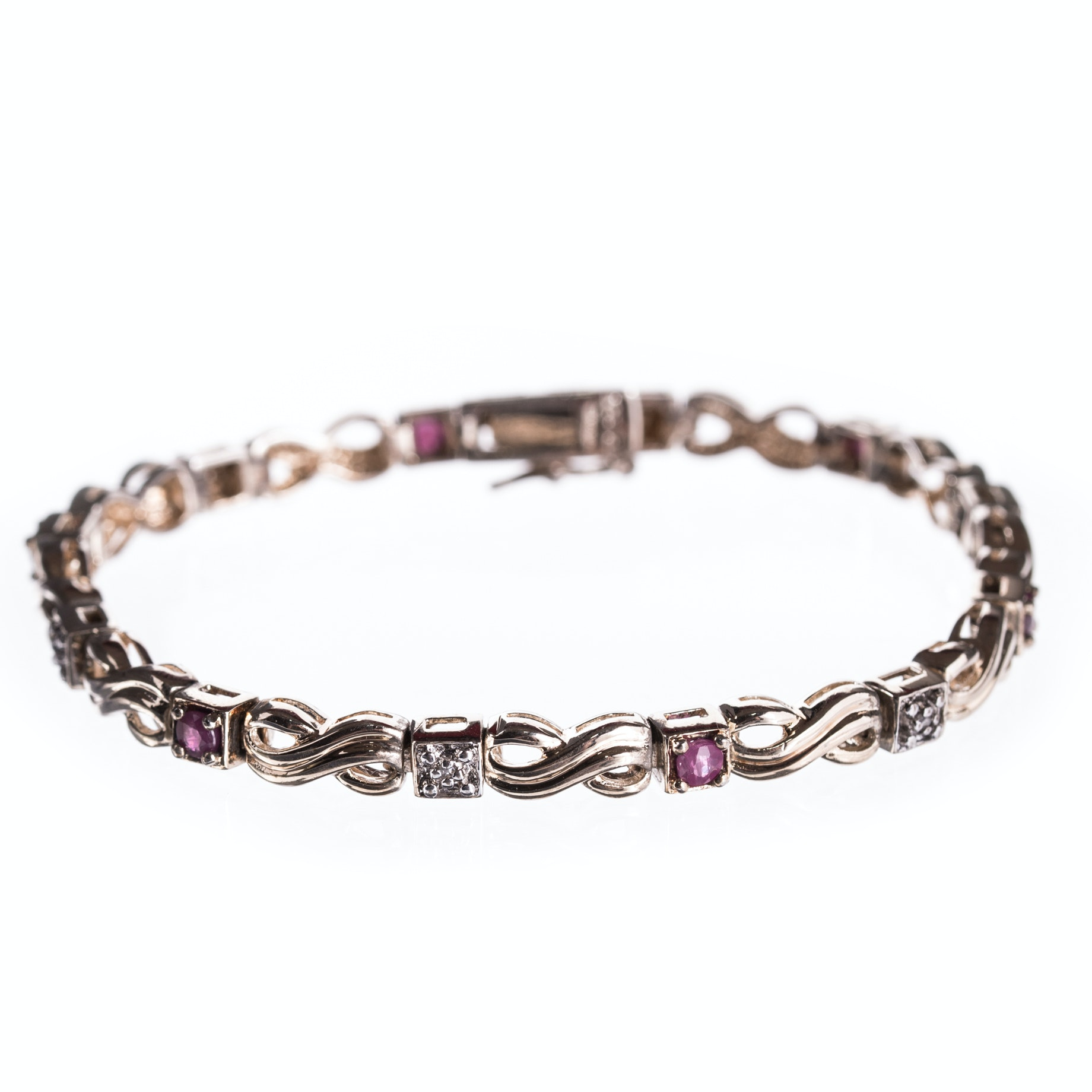 Sterling Silver Diamond and Ruby Bracelet with Gold Wash