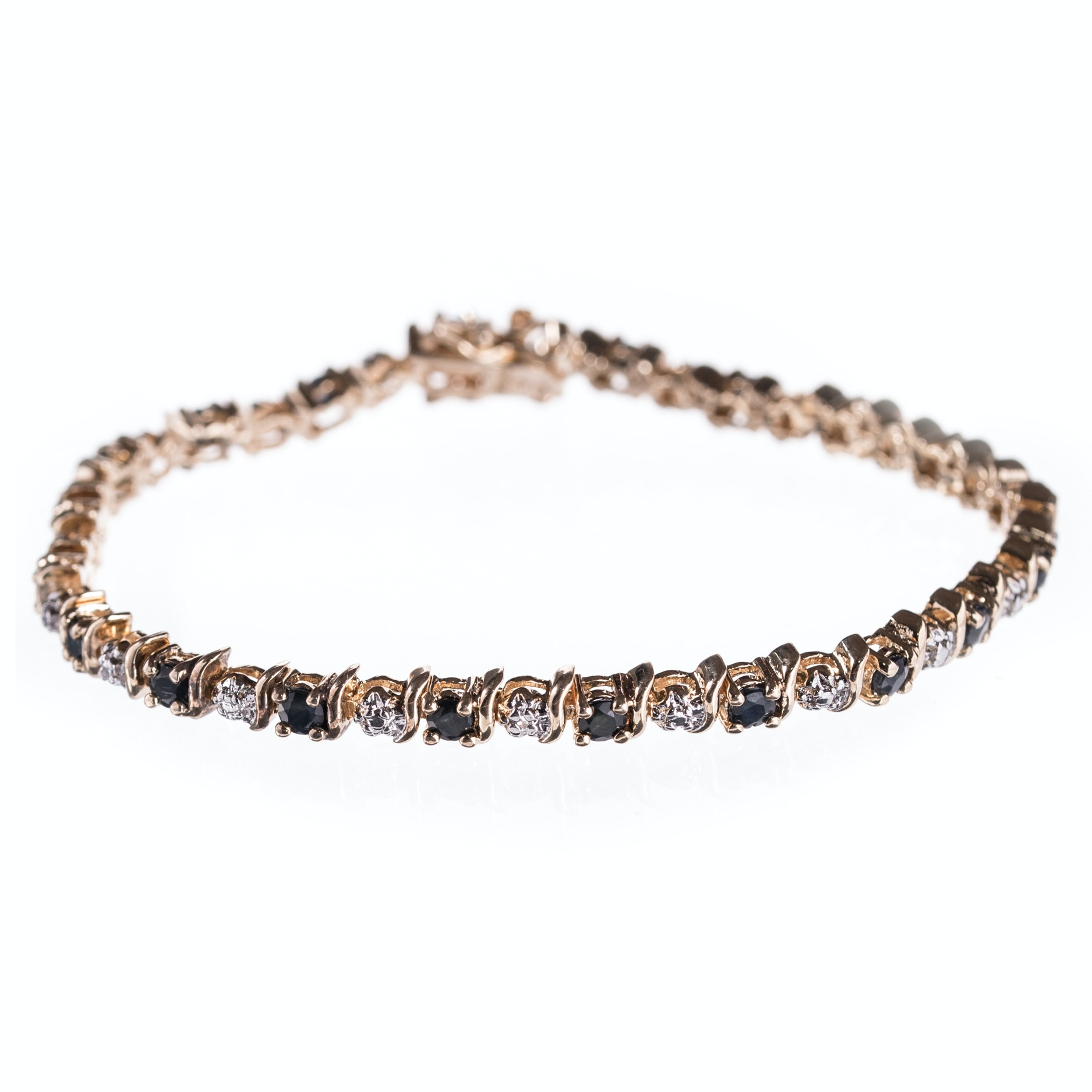 Sterling Silver Diamond and Sapphire Bracelet with Gold Wash