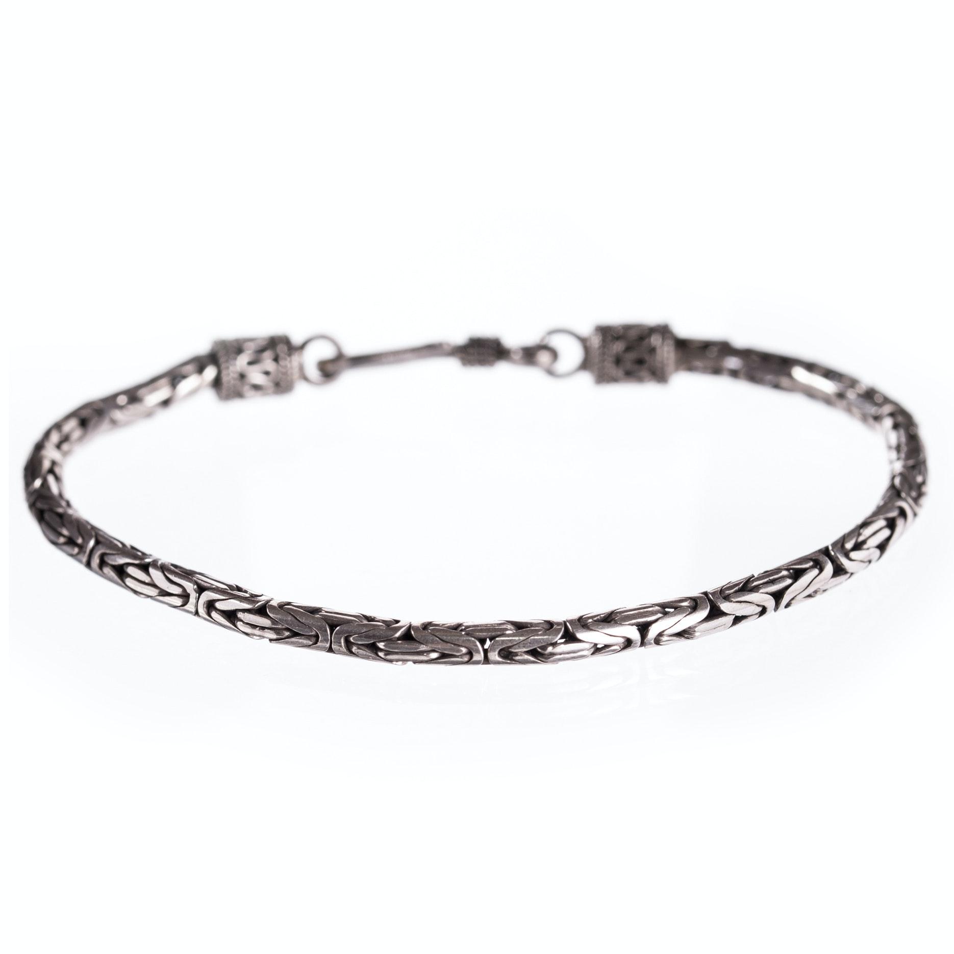 Sterling Silver Interlocking Link Bracelet