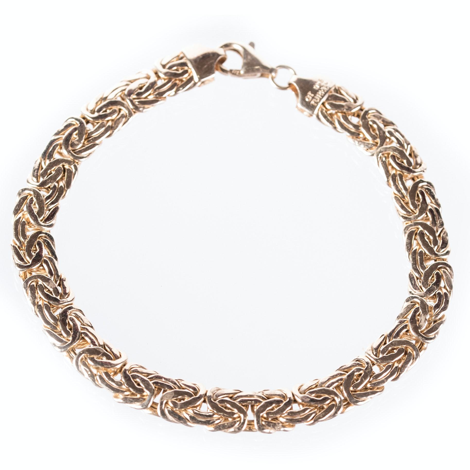 Sterling Silver Byzantine Bracelet with Gold Wash