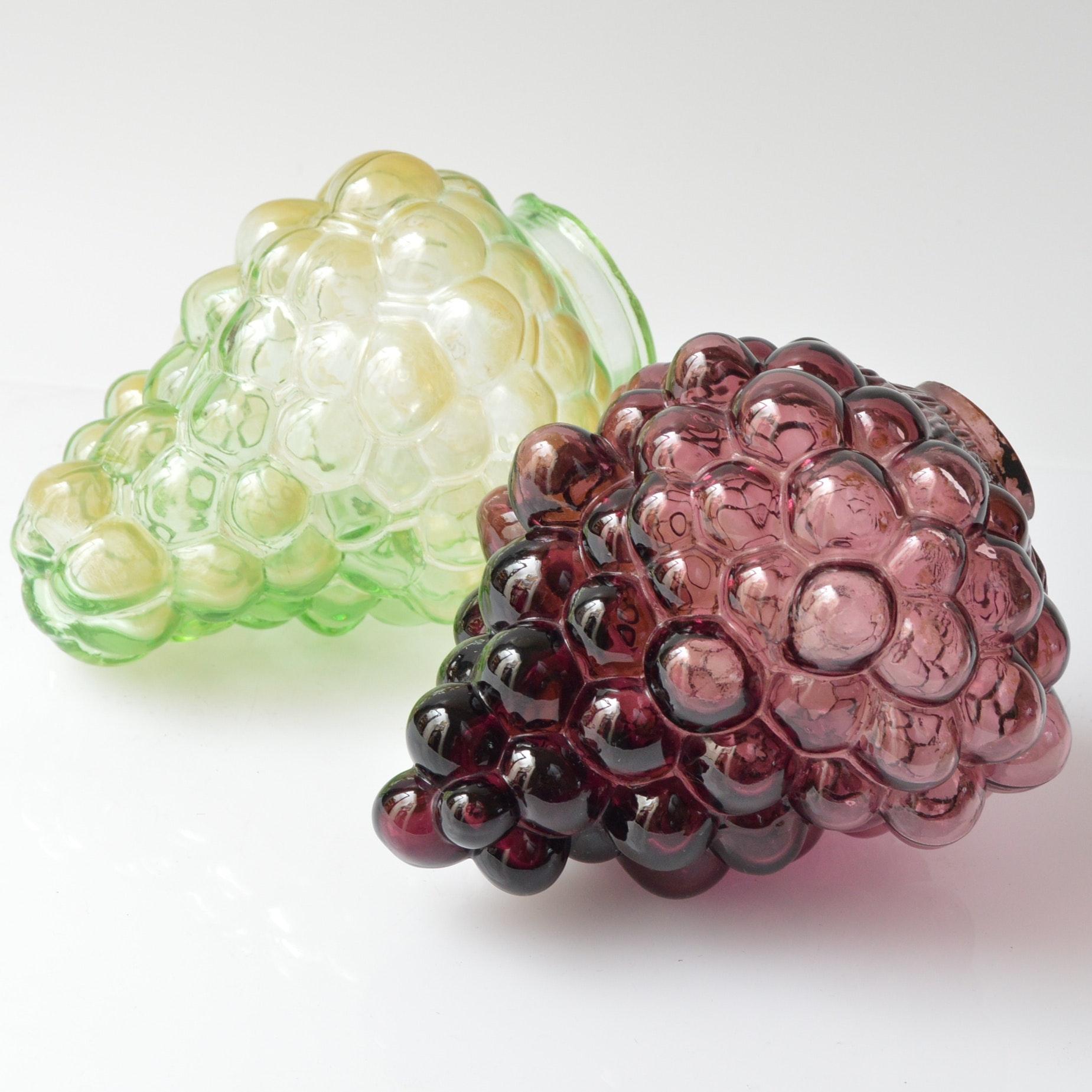 Antique Czech Glass Grape Bunch Lamp Shades