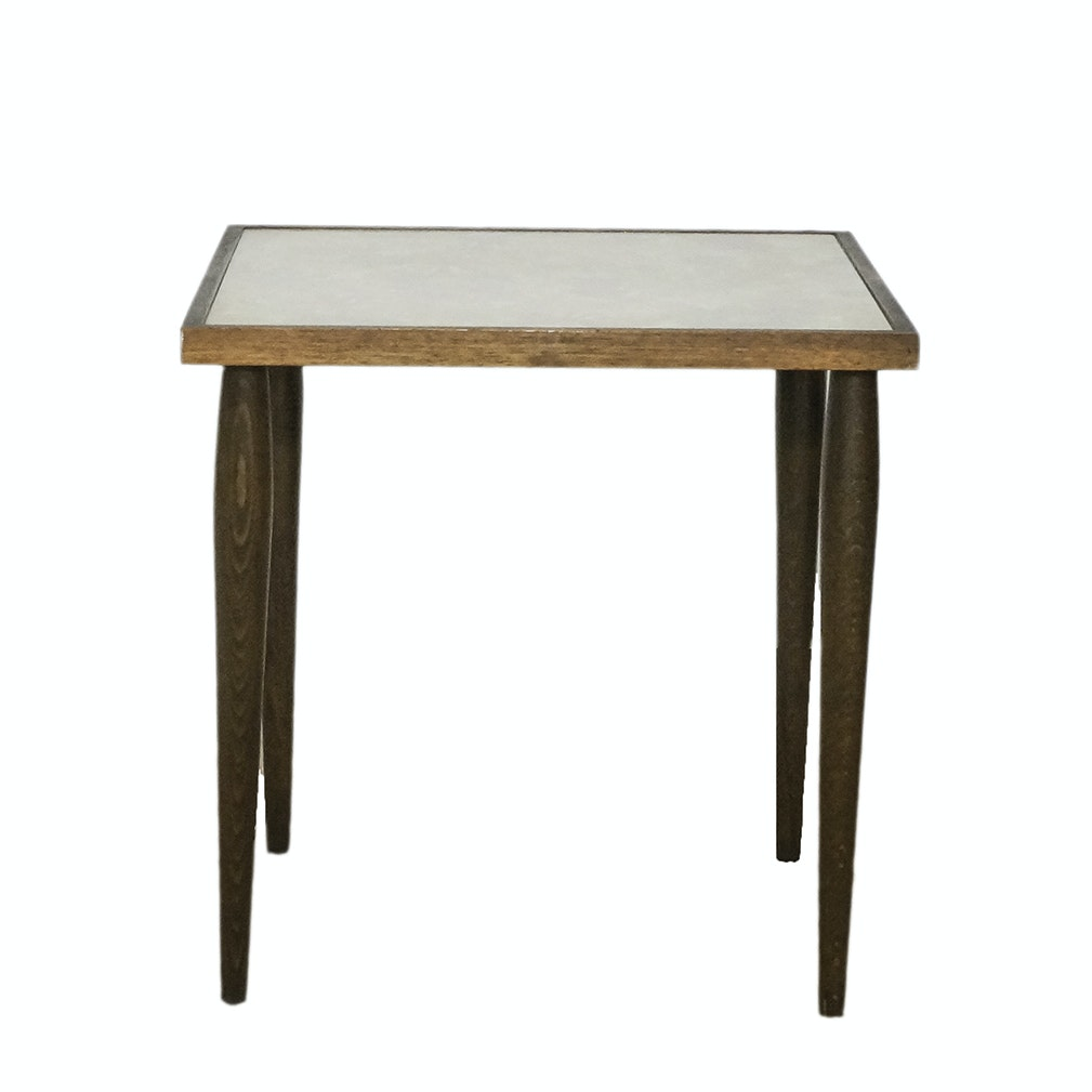 Mid Century Modern Beech Table with Patterned Top