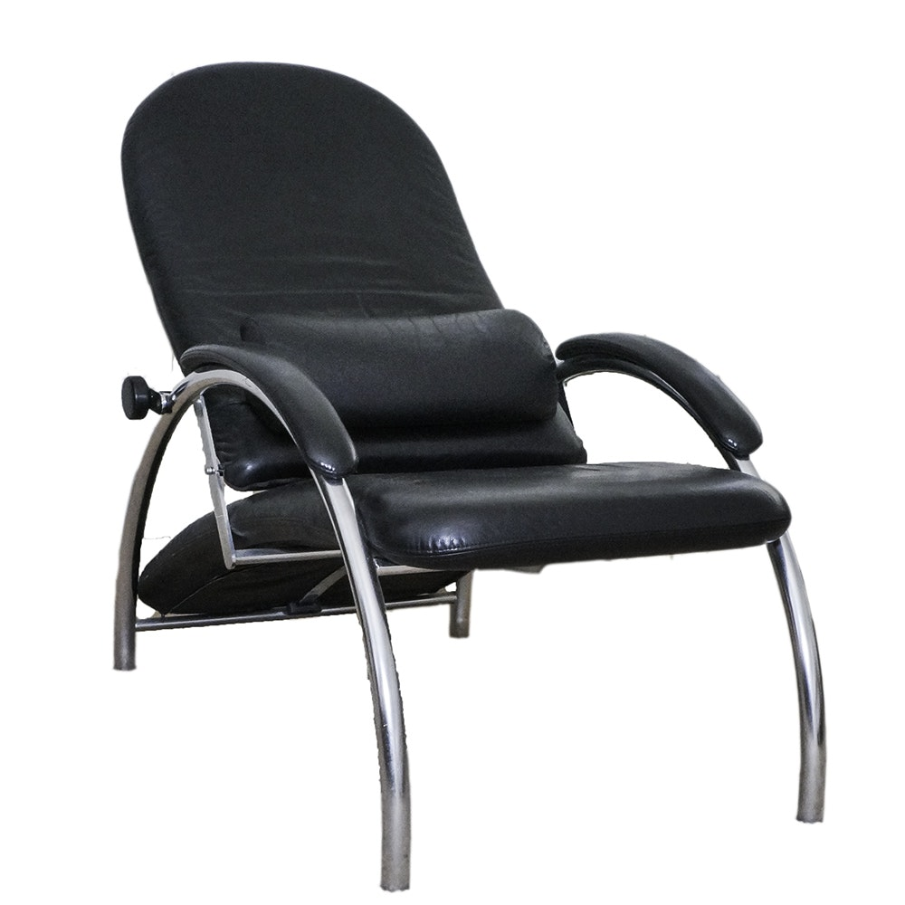 Art Deco Style Leather and Chrome Reclining Armchair