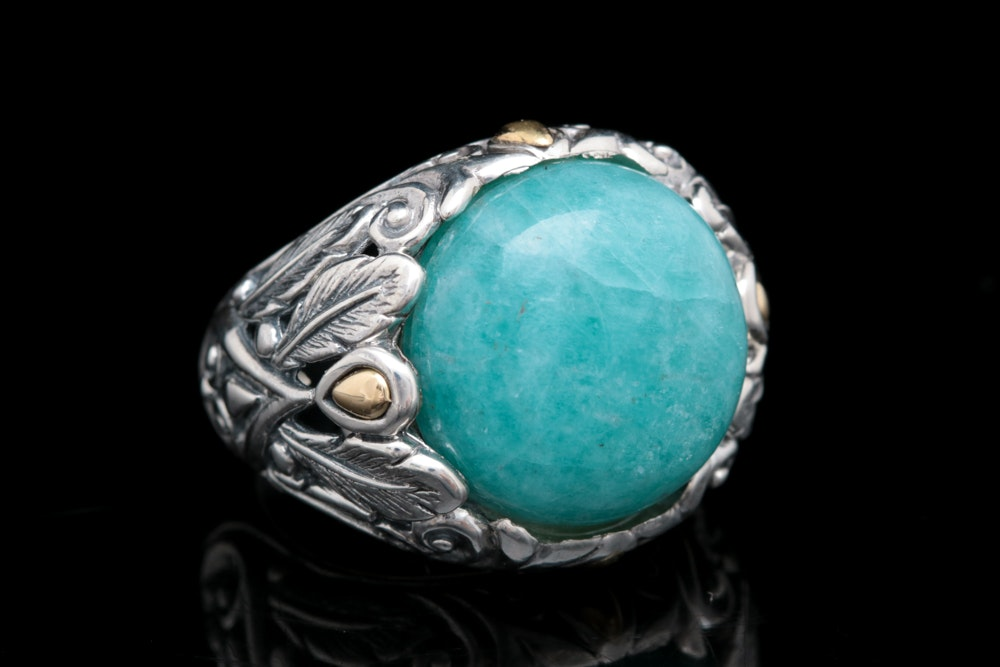 Robert Manse Sterling Silver, 18K Yellow Gold and Amazoite Ring