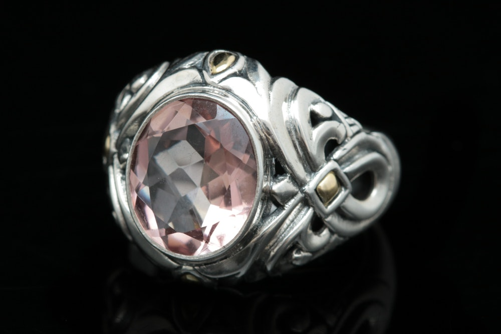 Robert Manse Sterling Silver, 18K Yellow Gold and Peach Quartz Ring