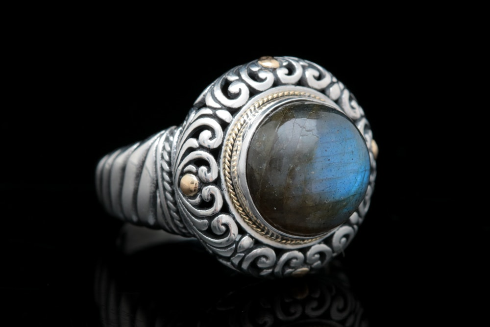 Robert Manse Sterling Silver, 18K Yellow Gold and Labradorite Ring
