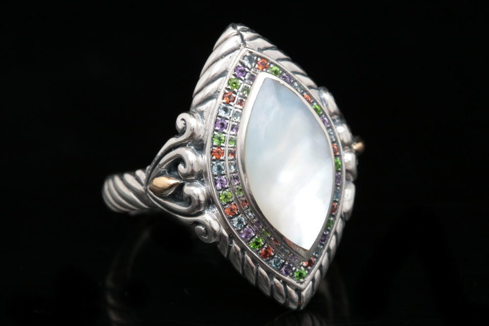 Robert Manse Sterling Silver, 18K Gold, Mabé Pearl and Multi-Gemstone Ring