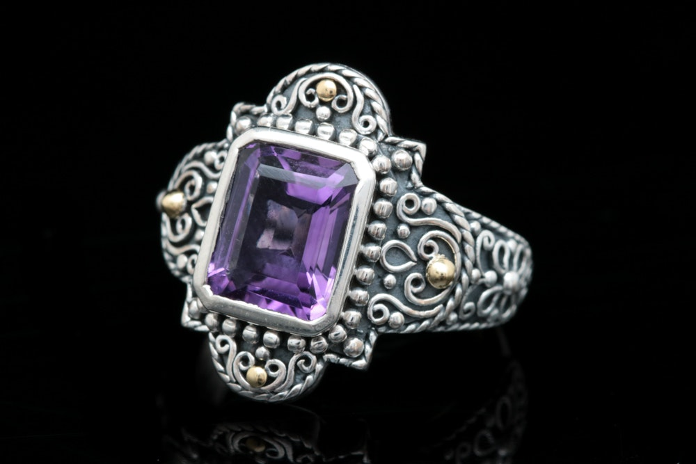 Robert Manse Sterling Silver, 18K Yellow Gold and Amethyst Ring