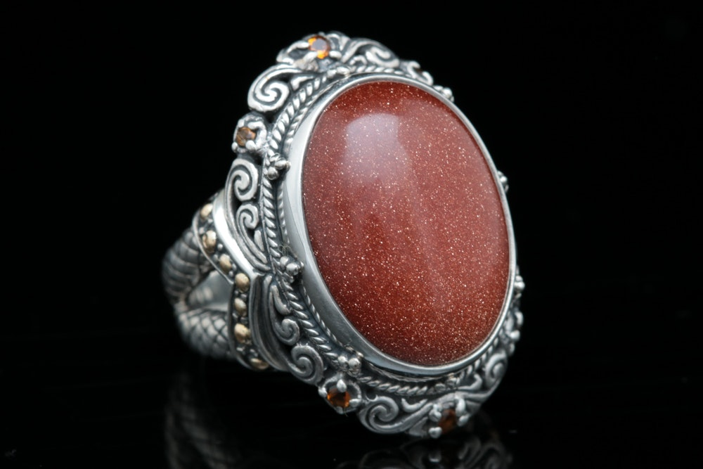 Robert Manse Sterling Silver, 18K Yellow Gold, Goldstone Glass and Garnet Ring
