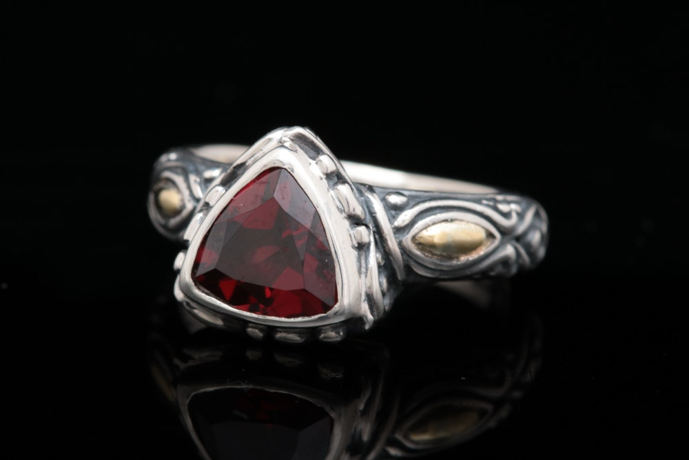 Robert Manse Sterling Silver, 18K Yellow Gold and Garnet Ring