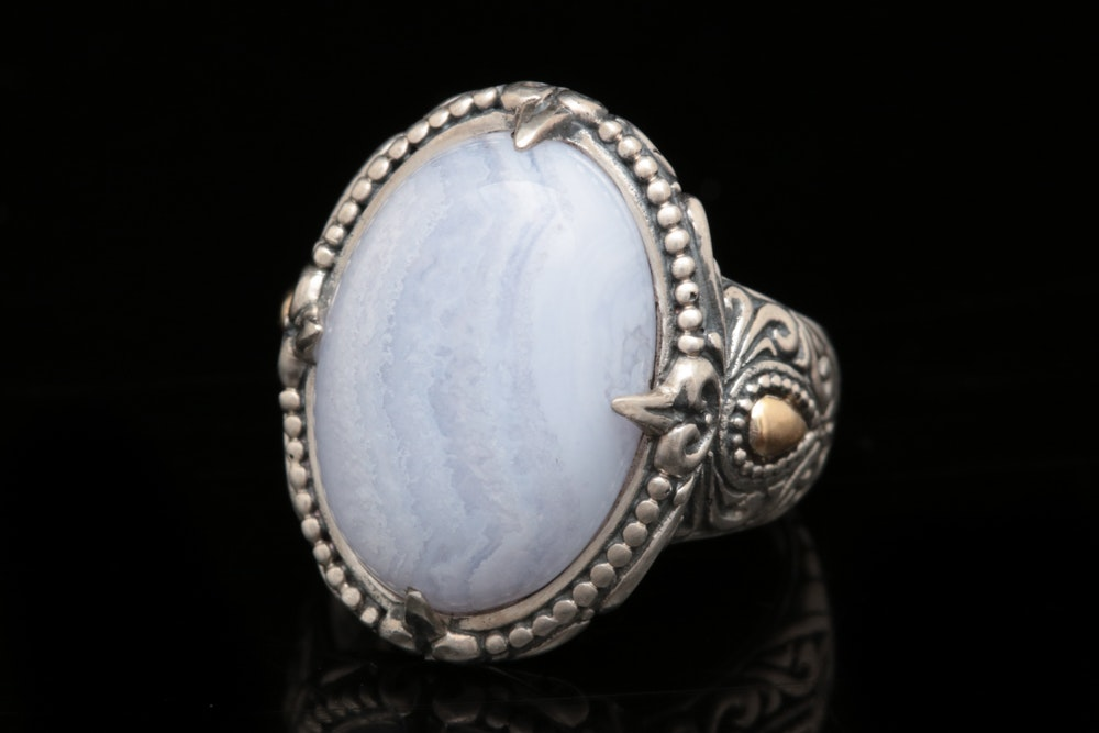 Robert Manse Sterling Silver, 18K Yellow Gold and Blue Lace Agate Ring