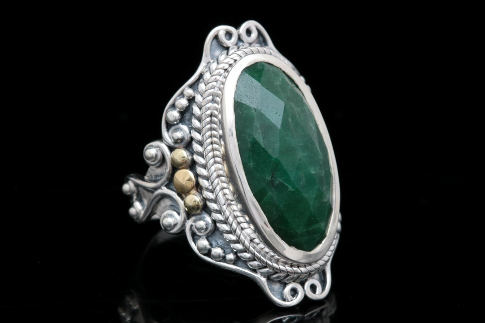 Robert Manse Sterling Silver, 18K Yellow Gold and Dyed Green Corundum Ring
