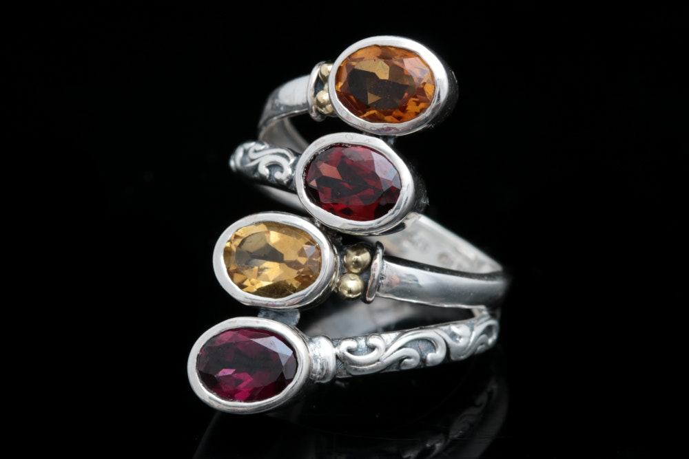 Robert Manse Sterling Silver, 18K Yellow Gold, Garnet and Citrine Ring