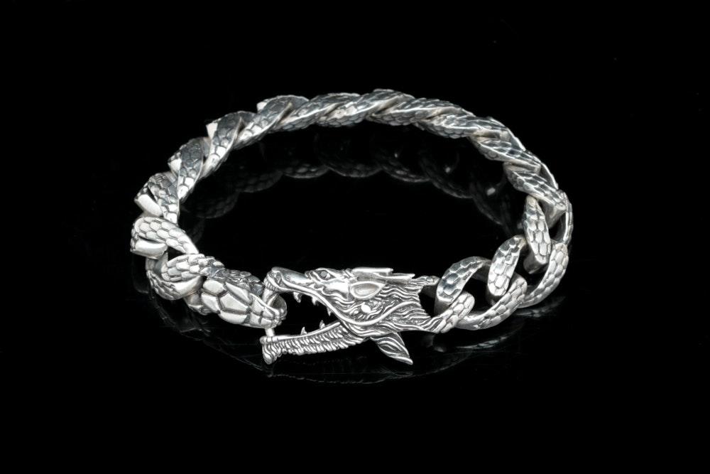 Robert Manse Sterling Silver and Black Diamond Dragon Bracelet